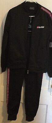 Lotto Italy Womens Track Suit Black Pink Jacket Pant Vintage L Xl Ladies White