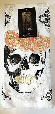 x2 Cynthia Rowley Sugar Skull Flowers Terry Kitchen Towel Set Halloween Day Dead