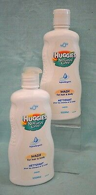 2 PC Huggies NATURAL CARE Hypoallergenic WASH Hair & Body Baby Tear FREE 30 oz Huggies Baby Wash