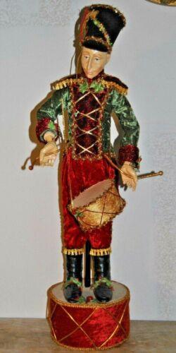 "Vintage Antique TALL 29"" Christmas Drummer Boy Dressed in Velvet"