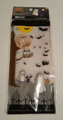 20 Halloween Cello Treat Loot Party Bags With Ties Ghosts Owl - Owl Treat Bags