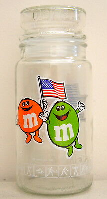 "Vintage ANCHOR HOCKING M&M ""L.A. 1984 Olympics Olympiad"" Glass Jar with Lid"
