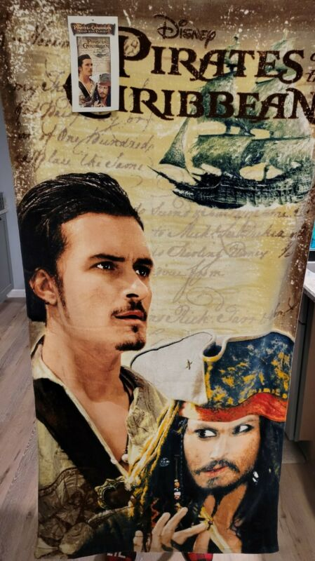 Vintage Disney Pirates Of The Caribbean Beach Towel Will Turner Jack Sparrow