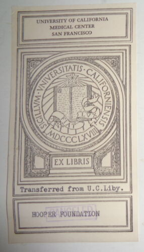 University Of California Medical Center San Francisco  - Ex Libris Bookplate