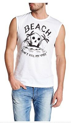 NWT Diesel T-ZOI. Tank. Men's, Sz L. Graphic BEACH White Color. MSPR $68.00