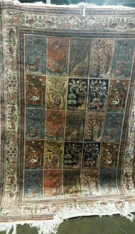 A Vintage Panel Design/Box Design Turkisk Keyseri silk Rug