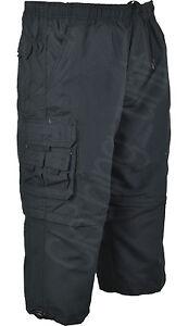 S11 Mens 3/4 Elasticated Waist  Long Zip off  Shorts Cargo Combat 8 Pockets