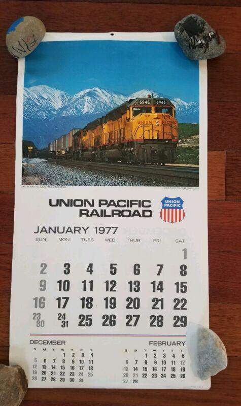 Vintage 1977 Union Pacific Railroad Train Calendar