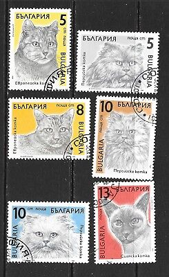1989 Bulgaria full set of 6 stamps featuring cats that are cancelled to order