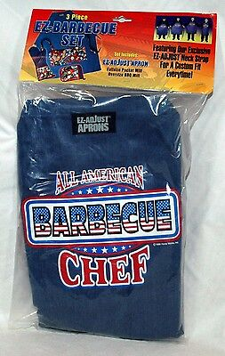 "3 Piece EZ Barbcue Set ""All American Chef"" Denim Apron Pocket & BBQ Mitts NEW"