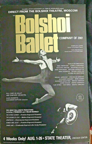 Bolshoi Ballet Alexander Godunov New York State Theatre 1979 poster FREE SHIP