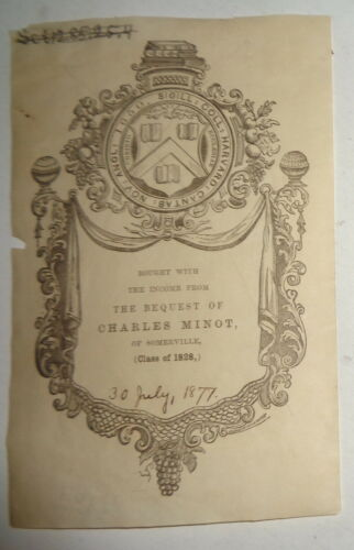 Harvard College Bookplate, 30 July 1877. Nathaniel Hurd engraving. Charles Minot