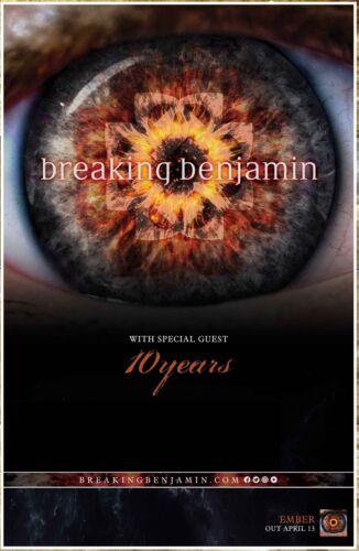 BREAKING BENJAMIN Ember Tour 2018 Ltd Ed RARE Poster +BONUS Rock Poster 10 YEARS