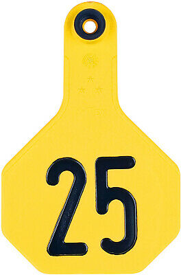 Ytex 3 Star Medium Cattle Id Ear Tags Yellow Numbered 126-150