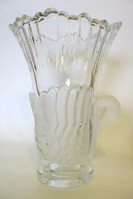 Decorative Glass Swan Vase Clear and Frosted 7 to 8 Inch Tall Vintage
