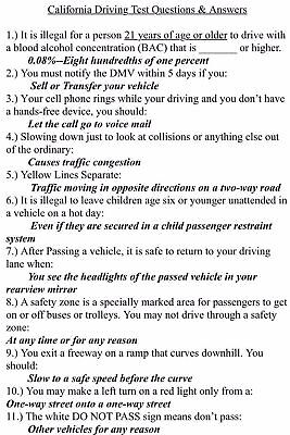 Dmv California Class C Study Guide Driver S License Written Test With Answers