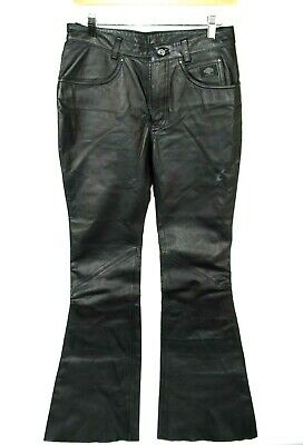 HARLEY DAVIDSON Black Motorcycle Biker Women's Leather Pants Size 8