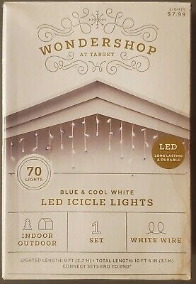 LED icicle christmas lights 70ct Blue / Cool White Lighted Length 9ft *LOT OF 2*