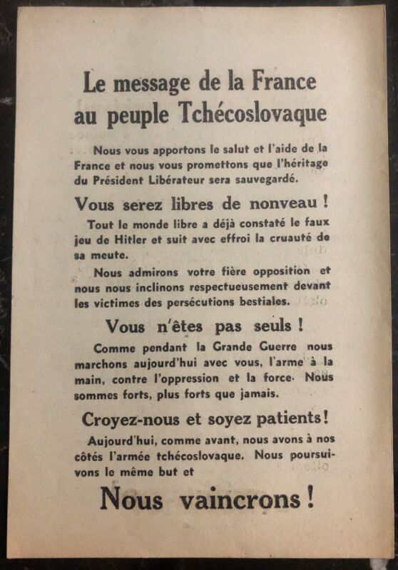 Original France Leaflet Dropped On Czechoslovakia The Message To The People WW2