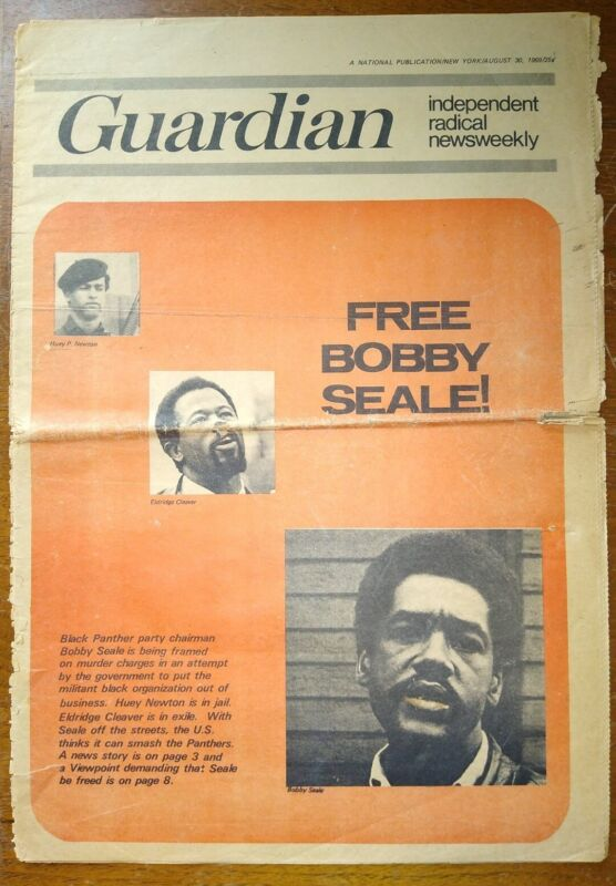 """1969 """"The Guardian"""" Radical Newspaper FREE BOBBY SEALE! on Black Panthers Cover"""