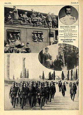 Balkankrieg Kriegsrüstung u.Führer der Bulgaren Griechen und Türken von 1912