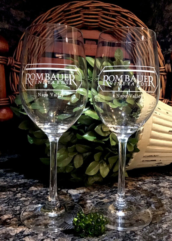 Stölzle Lausitz Crystal ROMBAUER VINEYARDS ~ NAPA White Wine Stems (2) PRISTINE!