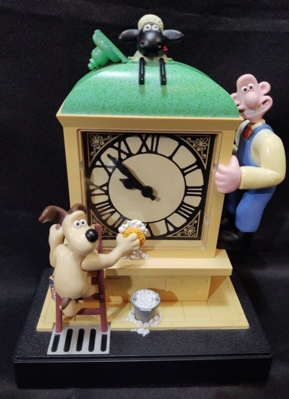 "Vtg Wallace and Gromit 1998 Motion Moving Alarm Clock ""A Close Shave"" Wesco A+!"