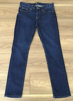 USED Gap Jeans Real Straight 26R Indigo Blue Stretch Denim UK8 Approx/See Photos