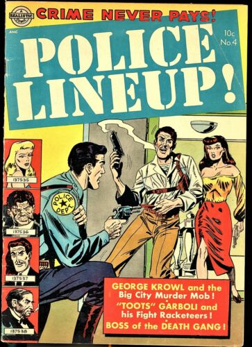POLICE LINE-UP #4 AVON COMICS 1952, LAST ISSUE VG-,