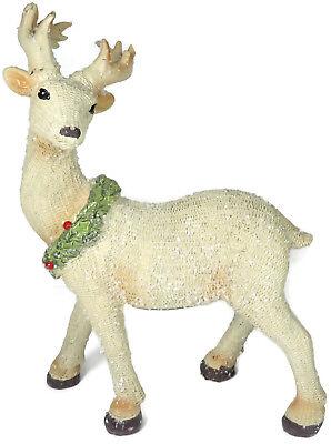 Reindeer Holly Wreath Winter Holiday Deer Antlers Snow Berries Off White Green