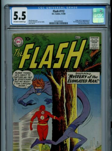 Flash #112 CGC 5.5 Off-White to White Pages 1st Appearance of the Elongated Man