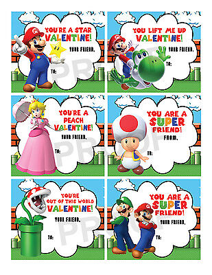 Valentines Day Cards For School (Super Mario Brothers Valentines for Classroom School Valentines Day)