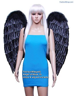 FashionWings (TM) XL Wingspan Black Costume Feather Angel Wings & Halo Cosplay for sale  Tracy