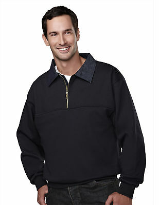 Denim Ribbed Sweatshirt (Tri-Mountain Men's Rib Knit Denim Collar Pullover Winter Sweatshirt S-4XL. 645 )