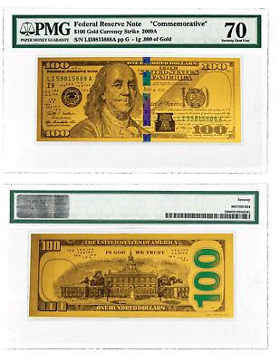 Benjamin Franklin Design 1 g Gold $100 Note PMG 70 - Franklin Design