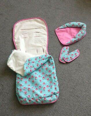 O'Baby Floral Pink Blue Pram Footmuff
