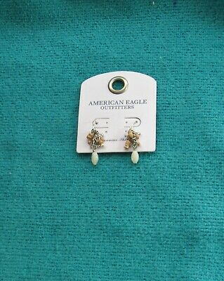 American Eagle Silvertone Tiny Bead Earrings American Pearl Earrings