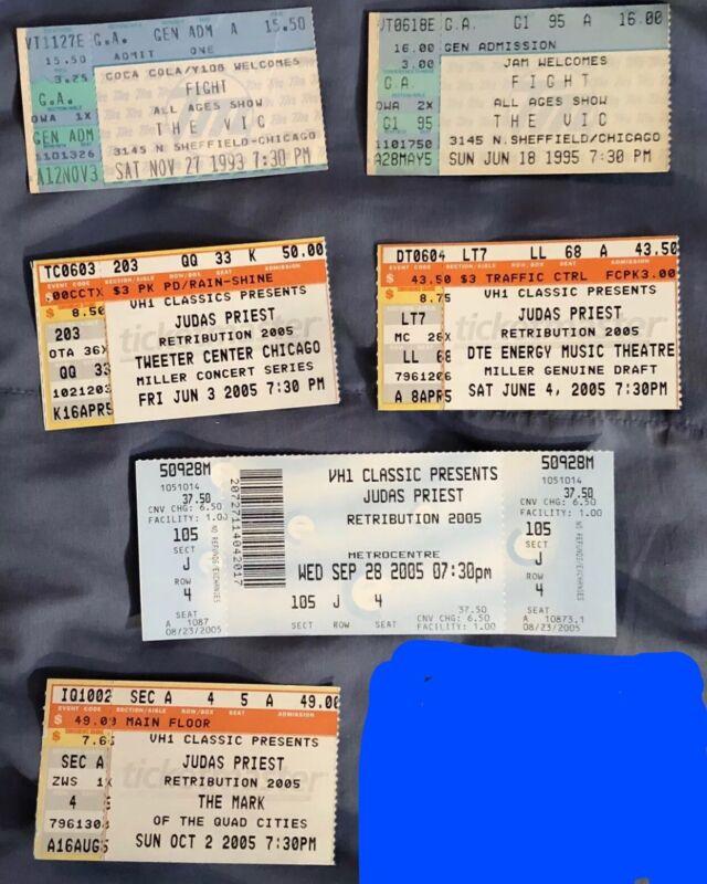 Judas Priest Concert Ticket Stubs (5) & Fight (2)