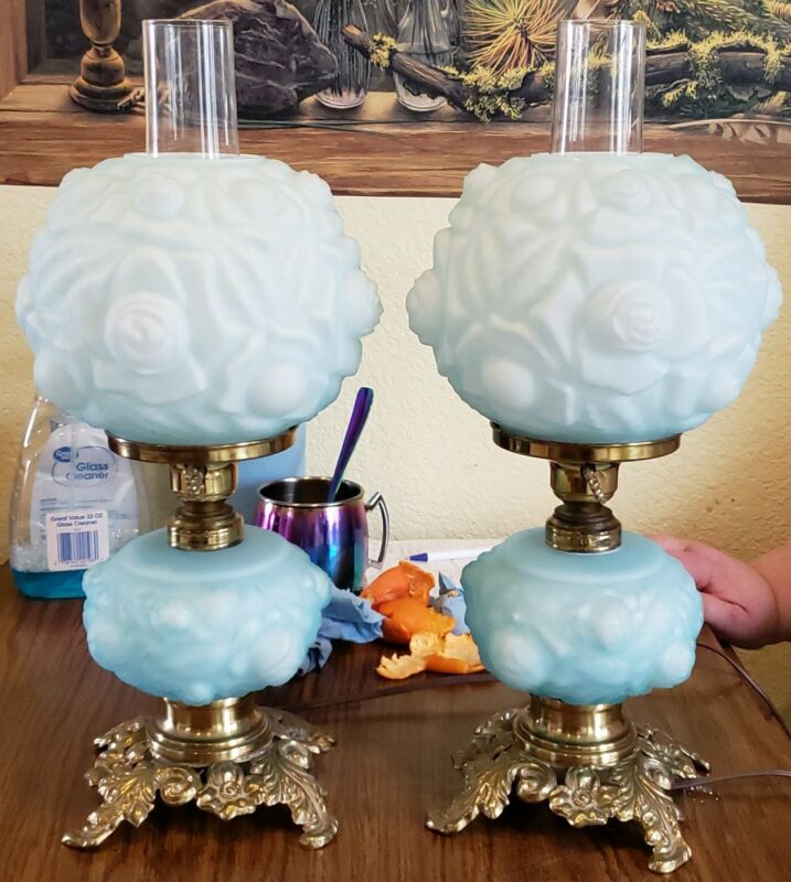 """PAIR ANTIQUE HURRICANE LAMPS 18"""" GLASS GONE WITH THE WIND BOUDOIR  NIGHTSTAND"""