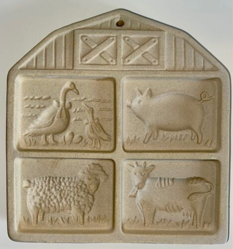 Vintage The Pampered Chef Farmyard Friends Stoneware Cookie Mold Stamp 1994