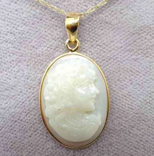 14k Yellow Gold Carved Genuine Natural Opal Cameo Pendant (#J3796)