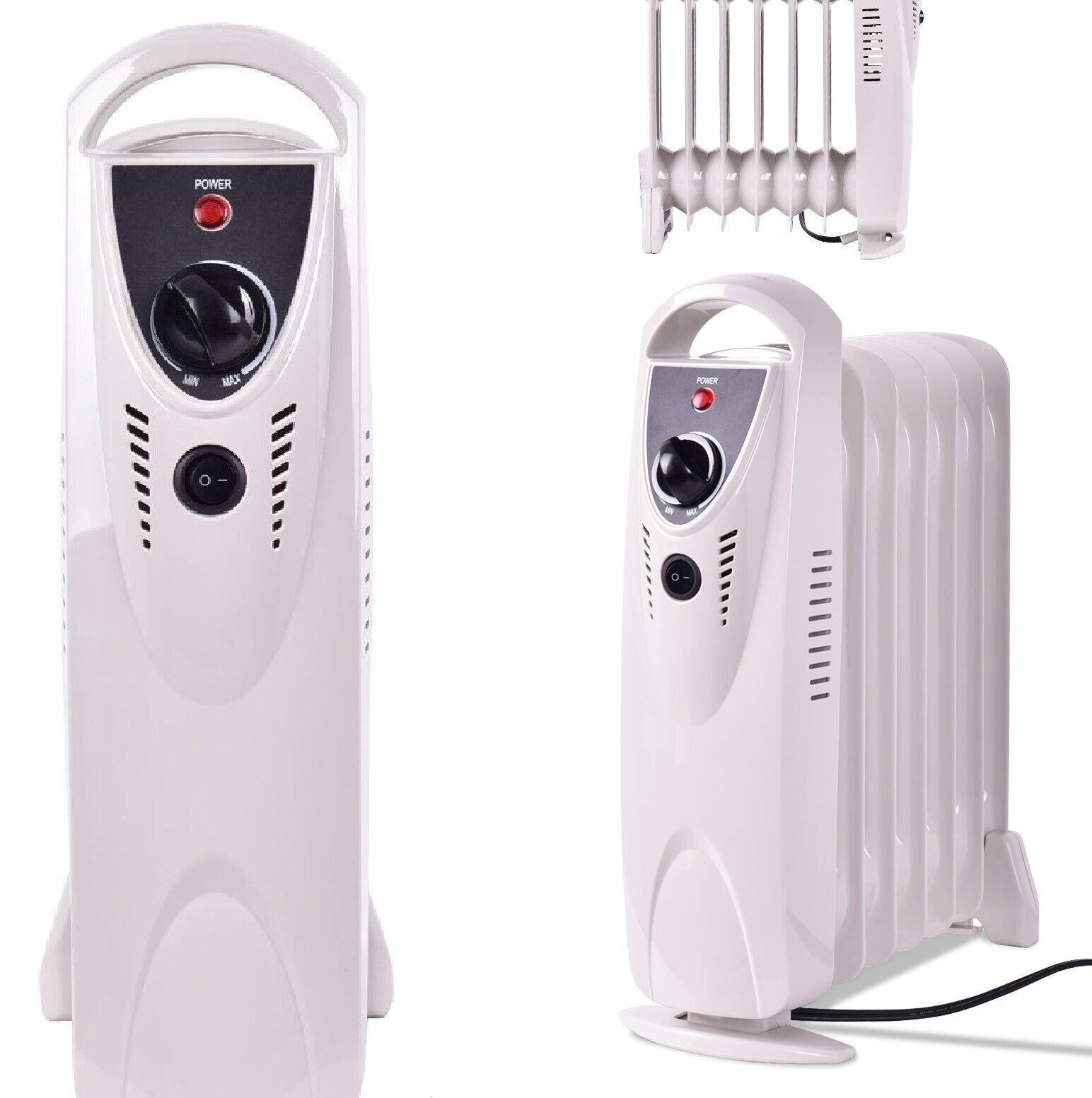 Small Space Heater White Electric Radiator Portable Oil Fill