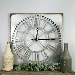 Large Square Rustic Industrial Farmhouse Galvanized Metal Wall Clock Home Decor
