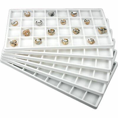 6 White Jewelry Tray Inserts 32 Compartments Display