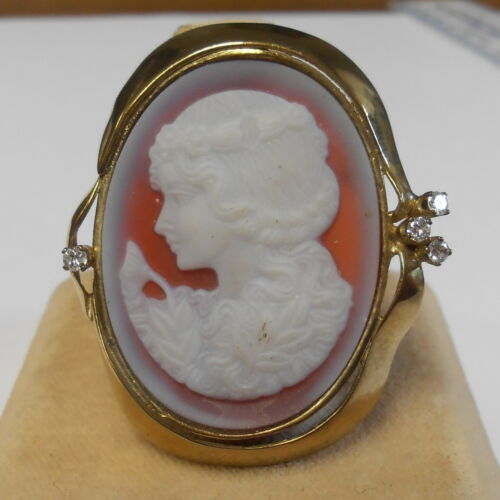 Vintage Carved Woman Cameo 4 Real Diamonds Gold Filled Brooch Pendant 41 mm