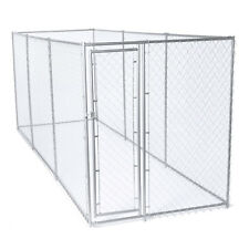 Lucky Dog 10 x 10 Ft. Heavy Duty Outdoor Chain Link Dog Kennel Enclosure w/ Door