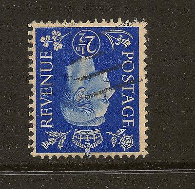 GB : 1938 2 1/2d ultramarine inverted watermark  SG 466wi  used
