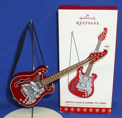 Hallmark Magic Ornament Santa Claus Is Comin' To Town 2017 Lonestar Guitar Sound - Guitar Ornaments