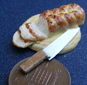 1-12-Scale-Ceramic-Plaited-Bread-On-A-Board-Knife-Dolls-House-Miniature-Food-C