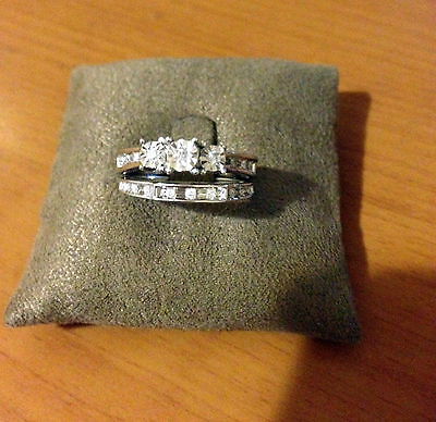 White Gold Past Present Future Three Stone Bridal Set Diamonds Wedding Ring